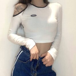 One Shoulder Contrast Edge Crop Top.1- Orezoria Aesthetic Outfits Shop - Aesthetic Clothing - eGirl Outfits - Soft Girl Outfits