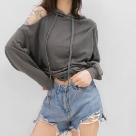 One Shoulder Open Gray Oversized Hoodie 1- Orezoria Aesthetic Outfits Shop - Aesthetic Clothing - eGirl Outfits - Soft Girl Outfits