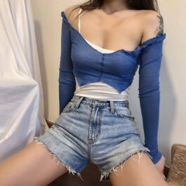 One Shoulder Sling Strap Two Piece Top 1- Orezoria Aesthetic Outfits Shop - Aesthetic Clothing - eGirl Outfits - Soft Girl Outfits