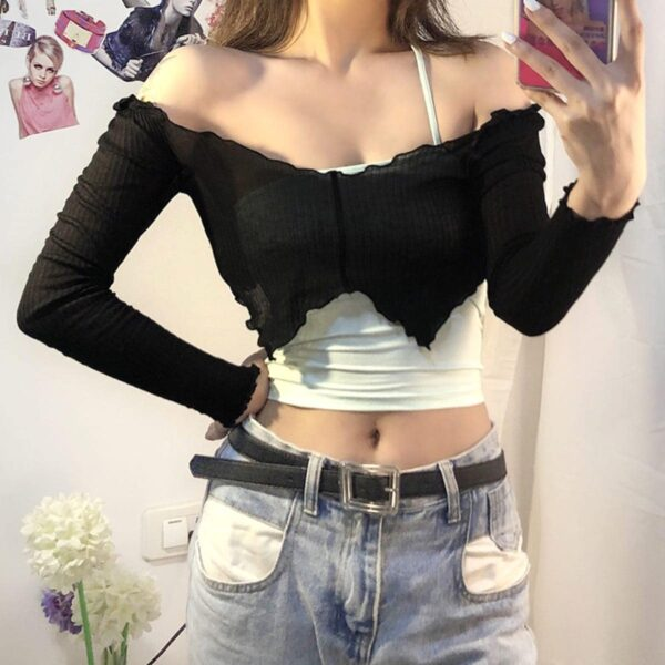 One Shoulder Sling Strap Two Piece Top 2- Orezoria Aesthetic Outfits Shop - Aesthetic Clothing - eGirl Outfits - Soft Girl Outfits