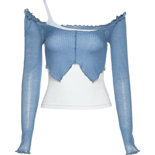 One Shoulder Sling Strap Two Piece Top 2- Orezoria Aesthetic Outfits Shop _ Aesthetic Clothing _ eGirl Outfits _ Soft Girl Outfits