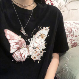 One Wing Flowers Butterfly Ulzzang T-Shirt 1 - Orezoria Aesthetic Outfits Shop - Aesthetic Clothing - eGirl Outfits - Soft Girl Outfits