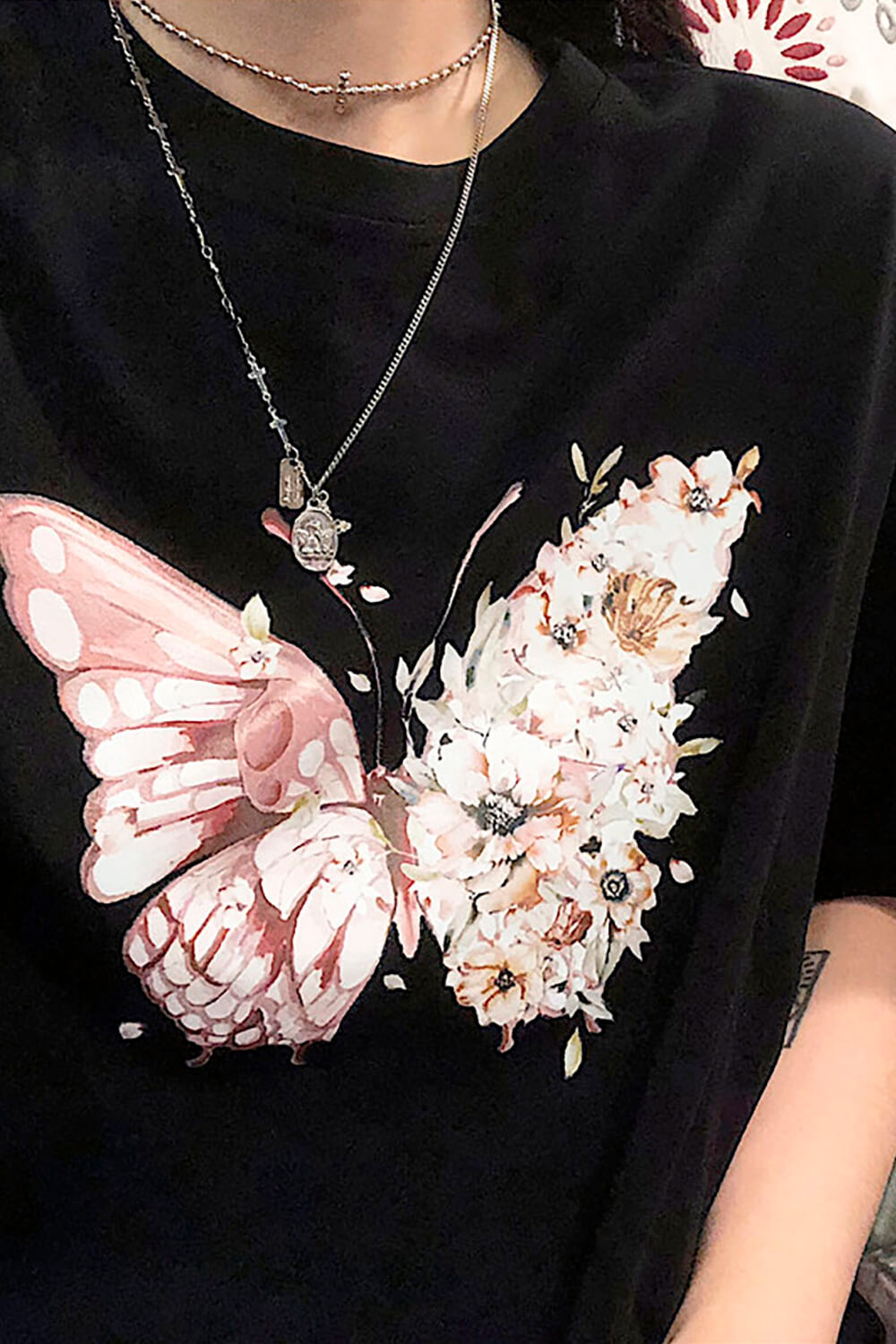 One Wing Flowers Butterfly Ulzzang T-Shirt