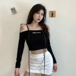 Open Shoulder Cross Neck Long Sleeve 1 - Orezoria Aesthetic Outfits Shop - Aesthetic Clothing - eGirl Outfits - Soft Girl Outfits.psd