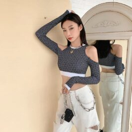 Open Shoulders Disco Print Long Sleeve Top 1 - Orezoria Aesthetic Outfits Shop - Aesthetic Clothing - eGirl Outfits - Soft Girl Outfits
