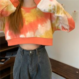 Orange Soft Girl Aesthetic Tie Dye Crop Hoodie - Orezoria Aesthetic Outfits Shop - Aesthetic Clothing - eGirl Outfits - Soft Girl Outfits.psd