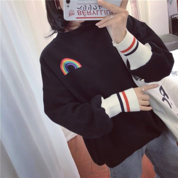 Rainbow Aesthetic Print Sweatshirt - Orezoria Aesthetic Outfits Shop - Aesthetic Clothing - eGirl Outfits - Soft Girl Outfits.psd