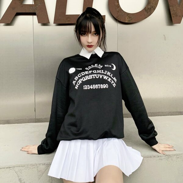 Ouija Board Salem Witch School Sweatshirt 3- Orezoria Aesthetic Outfits Shop - Aesthetic Clothing - eGirl Outfits - Soft Girl Outfits