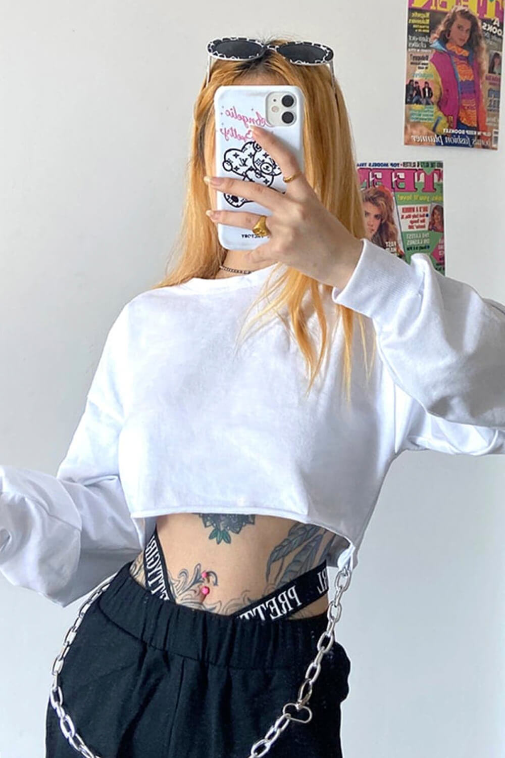 Oversized Cropped Sweatshirt With Chain