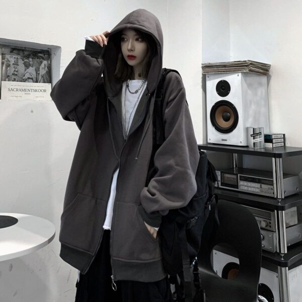 Oversized Front ZIpped Ulzzang Hoodie 1- Orezoria Aesthetic Outfits Shop - Aesthetic Clothing - eGirl Outfits - Soft Girl Outfits
