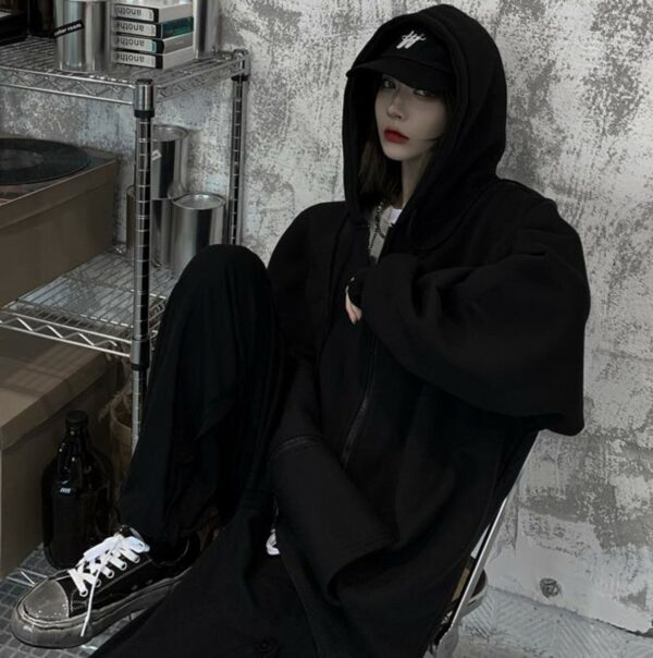 Oversized Front ZIpped Ulzzang Hoodie 2- Orezoria Aesthetic Outfits Shop - Aesthetic Clothing - eGirl Outfits - Soft Girl Outfits