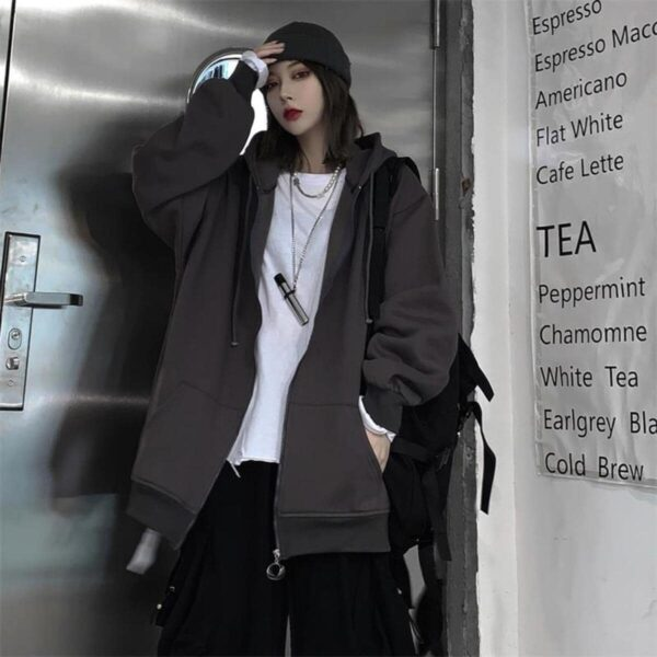 Oversized Front ZIpped Ulzzang Hoodie 3- Orezoria Aesthetic Outfits Shop - Aesthetic Clothing - eGirl Outfits - Soft Girl Outfits
