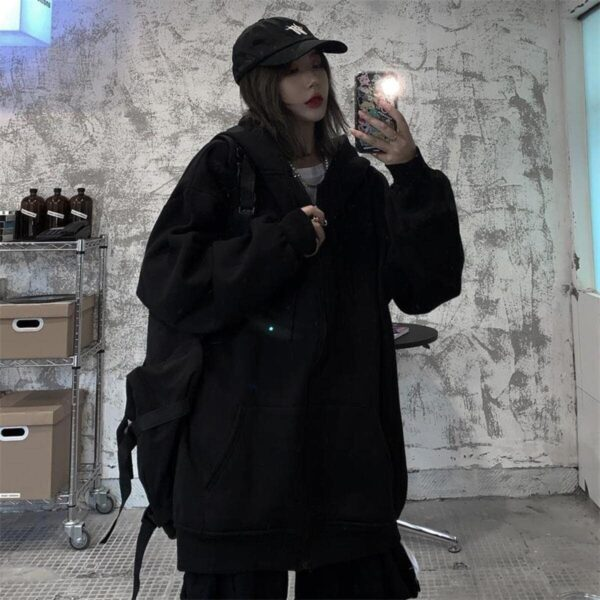 Oversized Front ZIpped Ulzzang Hoodie 4- Orezoria Aesthetic Outfits Shop - Aesthetic Clothing - eGirl Outfits - Soft Girl Outfits