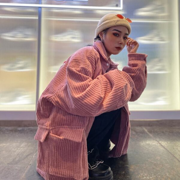 Oversized Korean Aesthetic Ribbed Jacket - Orezoria Aesthetic Outfits Shop - Aesthetic Clothing - eGirl Outfits - Soft Girl Outfits.psd