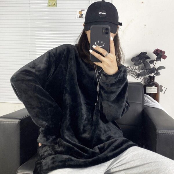 Oversized Warm Soft Plush Sweater 1 - Orezoria Aesthetic Outfits Shop - Aesthetic Clothing - eGirl Outfits - Soft Girl Outfits