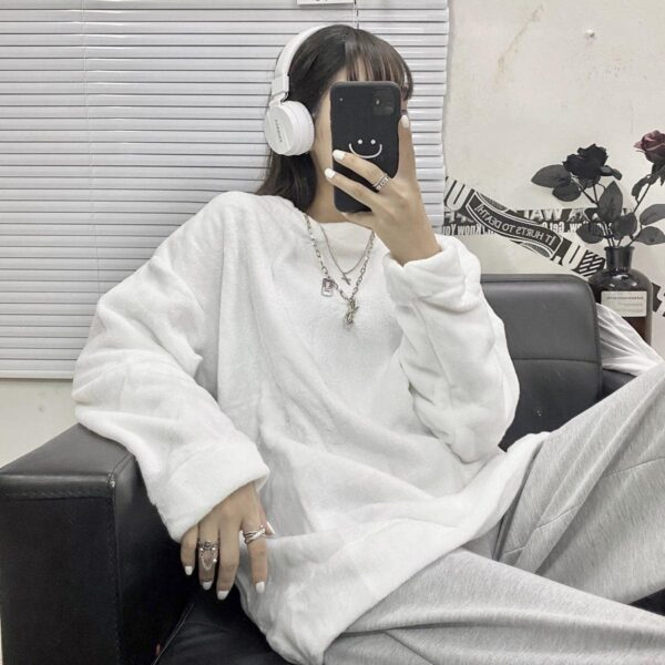 Oversized Warm Soft Plush Sweater 4 - Orezoria Aesthetic Outfits Shop - Aesthetic Clothing - eGirl Outfits - Soft Girl Outfits