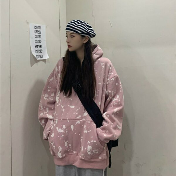 Paint Splash Oversized Korean Hoodie 1- Orezoria Aesthetic Outfits Shop - Aesthetic Clothing - eGirl Outfits - Soft Girl Outfits