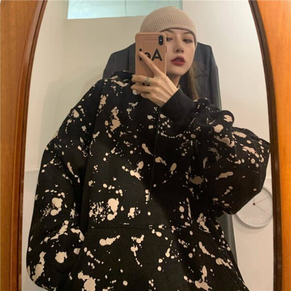 Paint Splash Oversized Korean Hoodie 4- Orezoria Aesthetic Outfits Shop - Aesthetic Clothing - eGirl Outfits - Soft Girl Outfits
