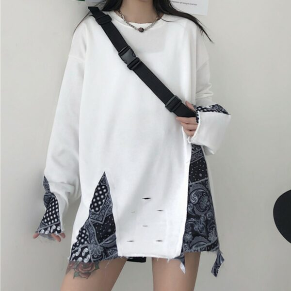 Paisley Pattern KPOP Grunge Sweatshirt 1- Orezoria Aesthetic Outfits Shop - Aesthetic Clothing - eGirl Outfits - Soft Girl Outfits