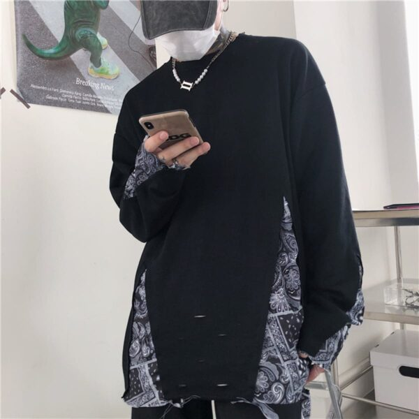 Paisley Pattern KPOP Grunge Sweatshirt 3- Orezoria Aesthetic Outfits Shop - Aesthetic Clothing - eGirl Outfits - Soft Girl Outfits