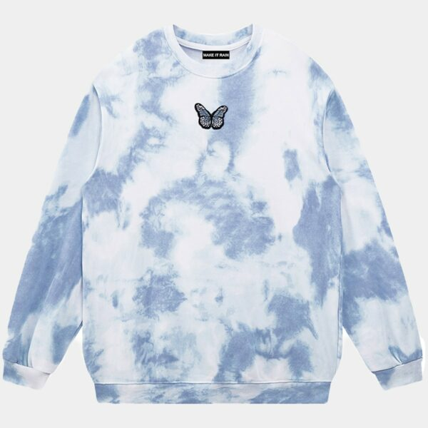 Pale Grunge Butterfly Tie Dye Sweatshirt 1 - Orezoria Aesthetic Outfits Shop - Aesthetic Clothing - eGirl Outfits - Soft Girl Outfits