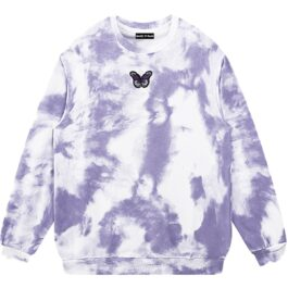 Pale Grunge Butterfly Tie Dye Sweatshirt 2 - Orezoria Aesthetic Outfits Shop - Aesthetic Clothing - eGirl Outfits - Soft Girl Outfits