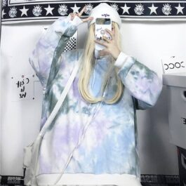 Pale Grunge Tie Dye Loose Sweatshirt 1 - Orezoria Aesthetic Outfits Shop - Aesthetic Clothing - eGirl Outfits - Soft Girl Outfits