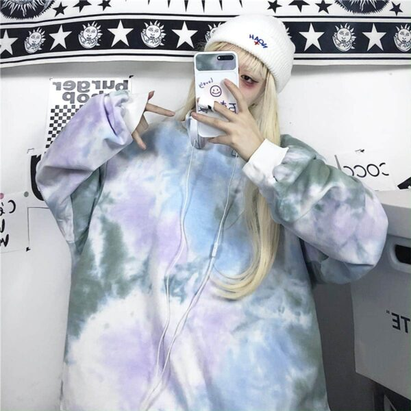 Pale Grunge Tie Dye Loose Sweatshirt 3 - Orezoria Aesthetic Outfits Shop - Aesthetic Clothing - eGirl Outfits - Soft Girl Outfits