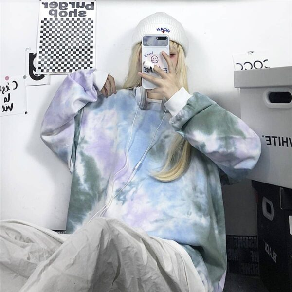 Pale Grunge Tie Dye Loose Sweatshirt 4 - Orezoria Aesthetic Outfits Shop - Aesthetic Clothing - eGirl Outfits - Soft Girl Outfits
