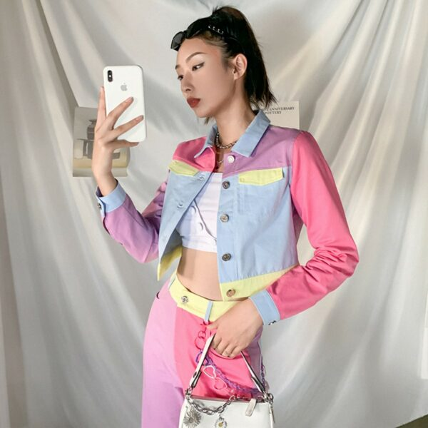 Pastel Colored Blocks Crop Denim Jacket 1- Orezoria Aesthetic Outfits Shop - Aesthetic Clothing - eGirl Outfits - Soft Girl Outfits