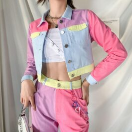 Pastel Colored Blocks Crop Denim Jacket 2- Orezoria Aesthetic Outfits Shop - Aesthetic Clothing - eGirl Outfits - Soft Girl Outfits