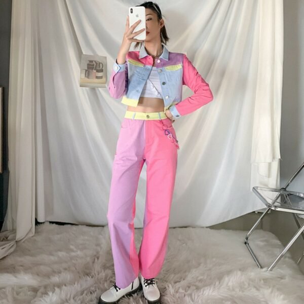 Pastel Colored Blocks Crop Denim Jacket 3- Orezoria Aesthetic Outfits Shop - Aesthetic Clothing - eGirl Outfits - Soft Girl Outfits