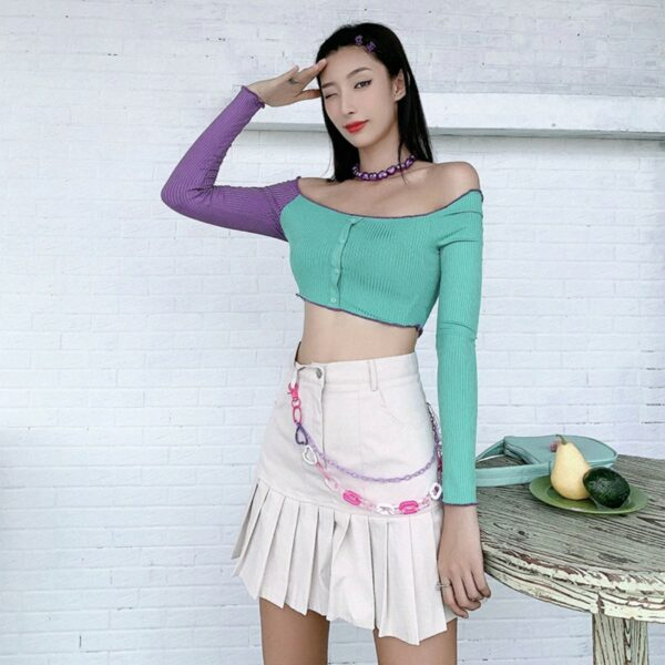 Pastel Mint Purple Sleeve Crop Top - Orezoria Aesthetic Outfits Shop - Aesthetic Clothing - eGirl Outfits - Soft Girl Outfits.psd