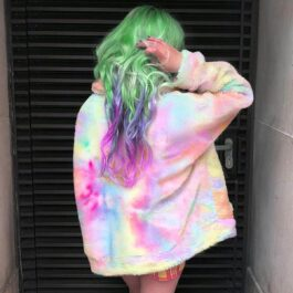 Pastel Rainbow Tie Dye Soft Plush Jacket (1)- Orezoria Aesthetic Outfits Shop - Aesthetic Clothing - eGirl Outfits - Soft Girl Outfits