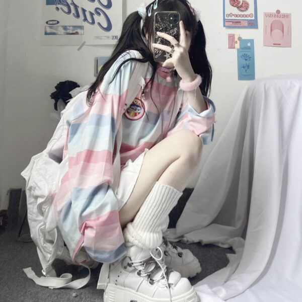 Pastel Soft Girl Striped Loose Long Sleeve 1- Orezoria Aesthetic Outfits Shop - Aesthetic Clothing - eGirl Outfits - Soft Girl Outfits
