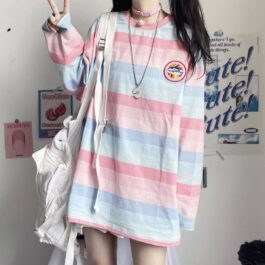 Pastel Soft Girl Striped Loose Long Sleeve 2- Orezoria Aesthetic Outfits Shop - Aesthetic Clothing - eGirl Outfits - Soft Girl Outfits
