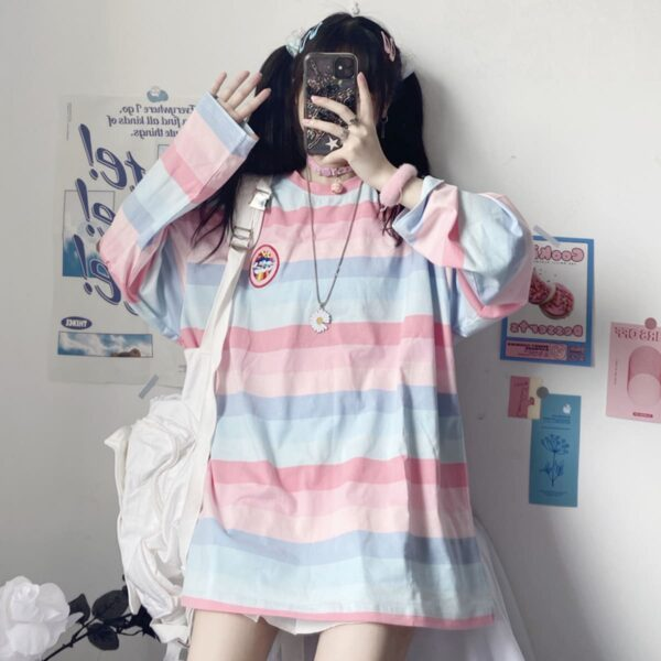 Pastel Soft Girl Striped Loose Long Sleeve 3- Orezoria Aesthetic Outfits Shop - Aesthetic Clothing - eGirl Outfits - Soft Girl Outfits