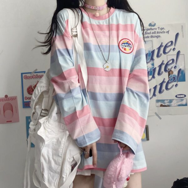 Pastel Soft Girl Striped Loose Long Sleeve 4- Orezoria Aesthetic Outfits Shop - Aesthetic Clothing - eGirl Outfits - Soft Girl Outfits