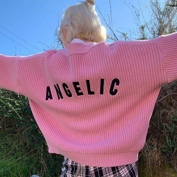 Pink Angelic Loose Soft Girl Cardigan - Orezoria Aesthetic Outfits Shop - Aesthetic Clothing - eGirl Outfits - Soft Girl (2)