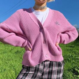 Pink Angelic Loose Soft Girl Cardigan - Orezoria Aesthetic Outfits Shop - Aesthetic Clothing - eGirl Outfits - Soft Girl