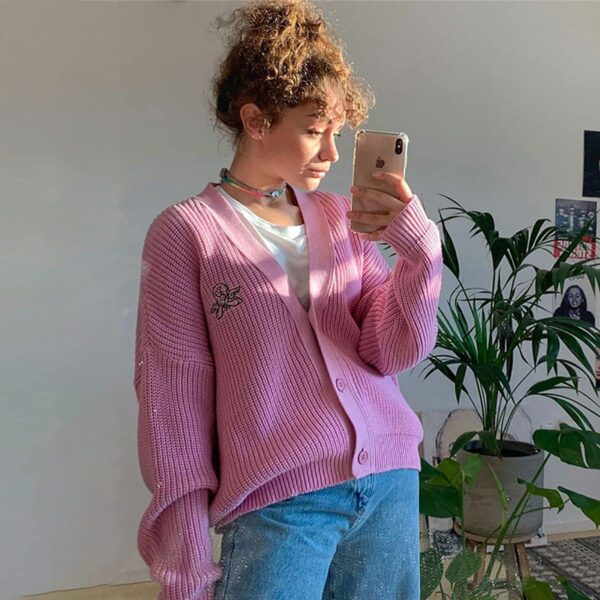 Pink Angelic Loose Soft Girl Cardigan - Orezoria Aesthetic Outfits Shop - Aesthetic Clothing - eGirl Outfits - Soft Girl (3)
