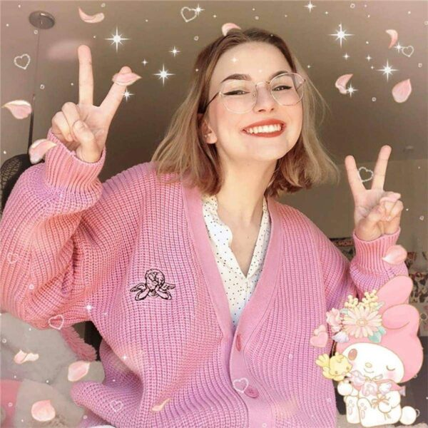 Pink Angelic Loose Soft Girl Cardigan - Orezoria Aesthetic Outfits Shop - Aesthetic Clothing - eGirl Outfits - Soft Girl (4)