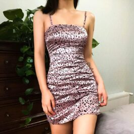 Pink Leopard Print Short Dress 1- Orezoria Aesthetic Outfits Shop - Aesthetic Clothing - eGirl Outfits - Soft Girl Outfits