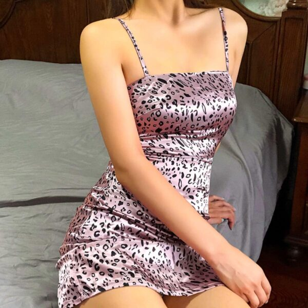 Pink Leopard Print Short Dress 4- Orezoria Aesthetic Outfits Shop - Aesthetic Clothing - eGirl Outfits - Soft Girl Outfits