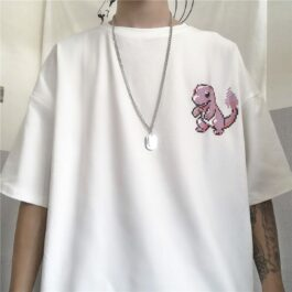 Pink Pixel Art Charmander Geek T-Shirt 1 - Orezoria Aesthetic Outfits Shop - Aesthetic Clothing - eGirl Outfits - Soft Girl Outfits