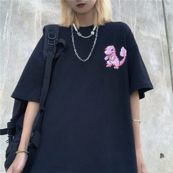 Pink Pixel Art Charmander Geek T-Shirt 2 - Orezoria Aesthetic Outfits Shop - Aesthetic Clothing - eGirl Outfits - Soft Girl Outfits