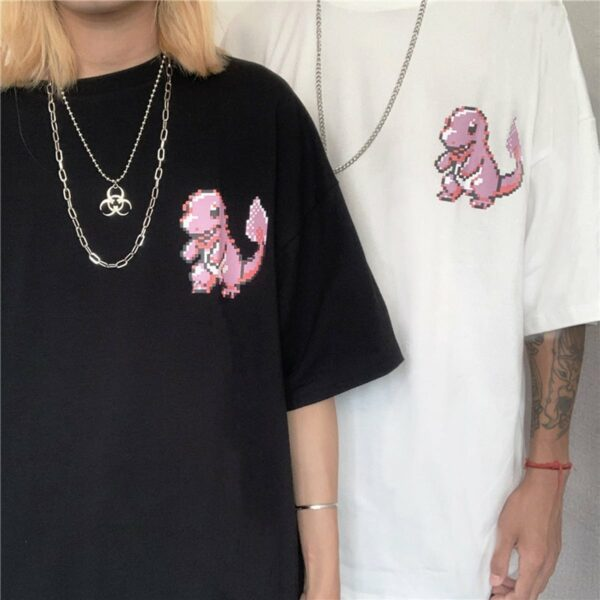 Pink Pixel Art Charmander Geek T-Shirt 4 - Orezoria Aesthetic Outfits Shop - Aesthetic Clothing - eGirl Outfits - Soft Girl Outfits