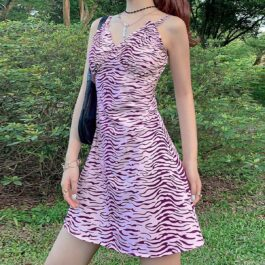 Pink Tiger Printed Retro Short Dress 1 - Orezoria Aesthetic Outfits Shop - Aesthetic Clothing - eGirl Outfits - Soft Girl Outfits