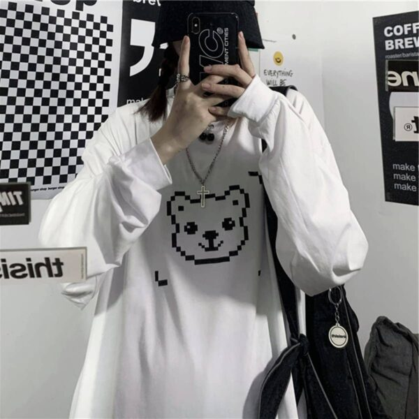 Pixel Bear Face Oversized Long Sleeve 2 - Orezoria Aesthetic Outfits Shop - Aesthetic Clothing - eGirl Outfits - Soft Girl Outfits.psd