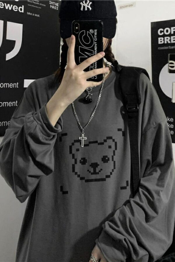 Pixel Bear Face Oversized Long Sleeve 4 - Orezoria Aesthetic Outfits Shop - Aesthetic Clothing - eGirl Outfits - Soft Girl Outfits.psd